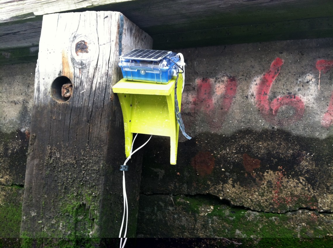Water Quality Sensor measuring conductivity and temperature for river water during floods